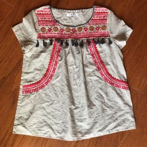 THML cotton Aztec embroidered boho cotton top-S